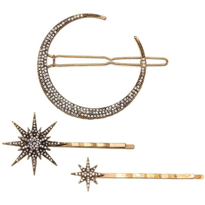 Barrettes 3pcs Vintage Hair Pin Moon Snowflake Star Hair Clip Barrette Hair Accessories for Women Girls 29173