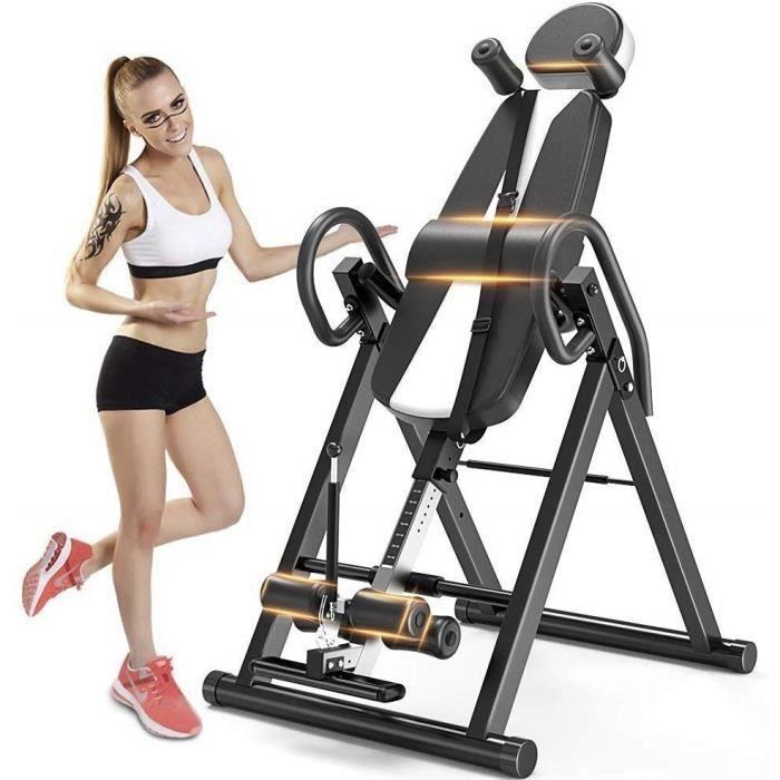 NOIR Table d'inversion Pliable Appareil du Dos Bras Supporte jusqu'à 150 kg de poids