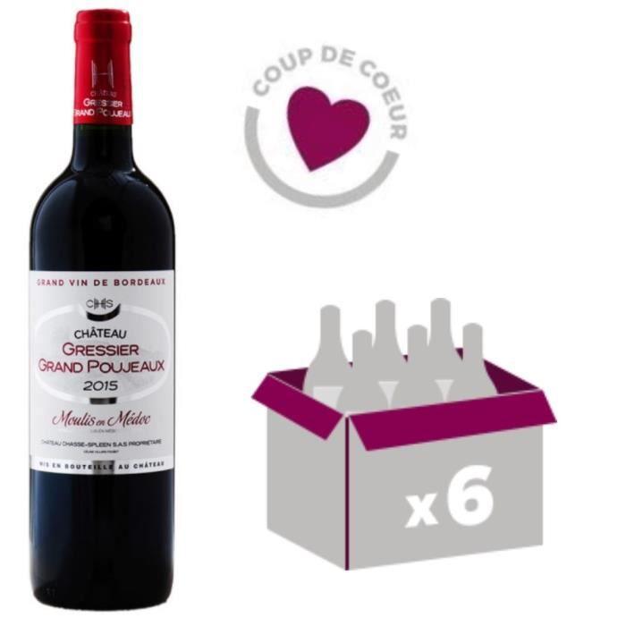 Château Gressier Grand Poujeaux 2015 - AOC Moulis - Vin Rouge - 6 bouteilles x 75cl - Signé Château Chasse Spleen