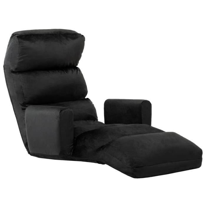 Pre•7183Elégant Canapé d'angle Canapé-lit réversible convertible Grand Confort & Elégant Sofa Scandinave au sol avec accoudoir Noir