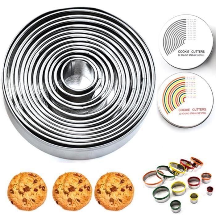 Lot de 12 emporte pièce rond cercle Biscuits emporte pièce avec boîte de rangement pour pâte pâtisserie beignet Fondant GF3488