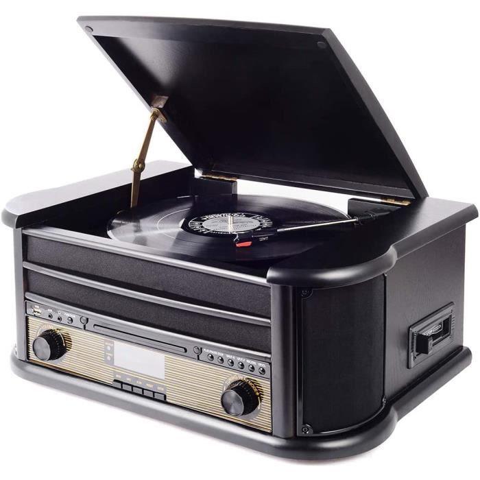 MUSITREND Platine Vinyle à 3 Vitesses avec des Haut-parleurs Stéréo Intégrés(33/45/78 TR / Min), Lecteur Multifonctions CD, disques
