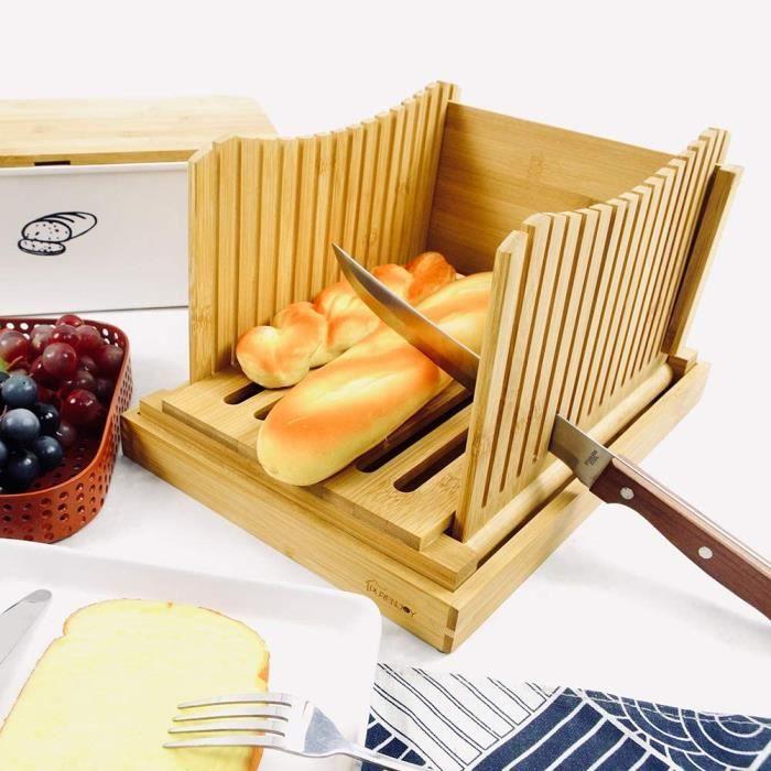 Trancheuse à pain pliable en bois de bambou - Épaisseur réglable - Guide de tranche de pain avec ramasse-miettes - Pour pain maison,