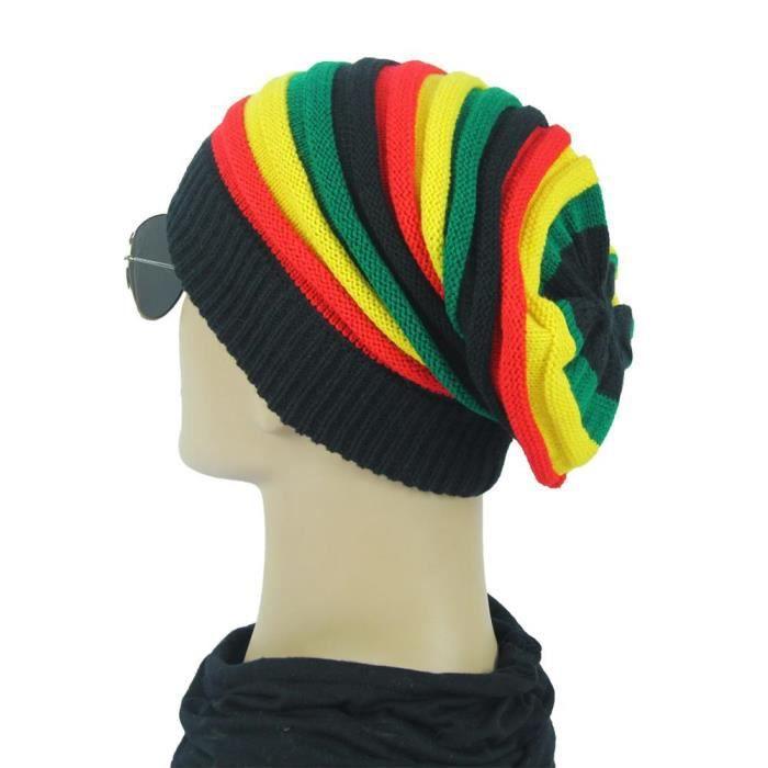 Bonnet Rasta pour hommes et femmes, Bonnet tricoté pour dames, style Hip Hop, Patchwork, à rayures, yellow green