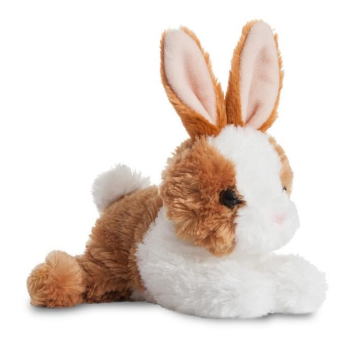Mini Flopsie Baby Brown and White Rabbit Soft Toy Stuffed Animal 8 inches by Aurora