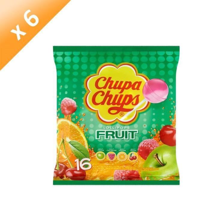 [LOT DE 6] CHUPA CHUPS Sucettes Lollipops au goûts de fruits - 192 g