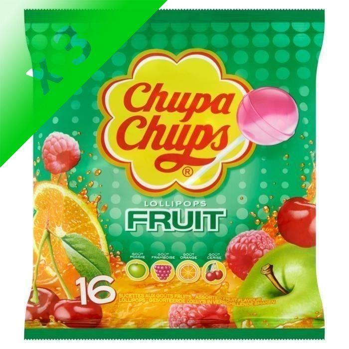 [LOT DE 3] CHUPA CHUPS Sucettes Lollipops au goûts de fruits - 192 g