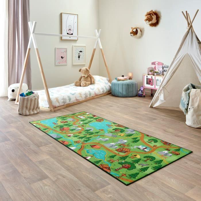 Tapis de Jeu Enfant 95x200cm, Hiking - Tapis Circuit Voiture - Lavable - Antidérapant - Carpet Studio