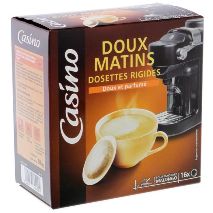 CASINO Café en dossettes rigides Doux Matins - 16x 100 g