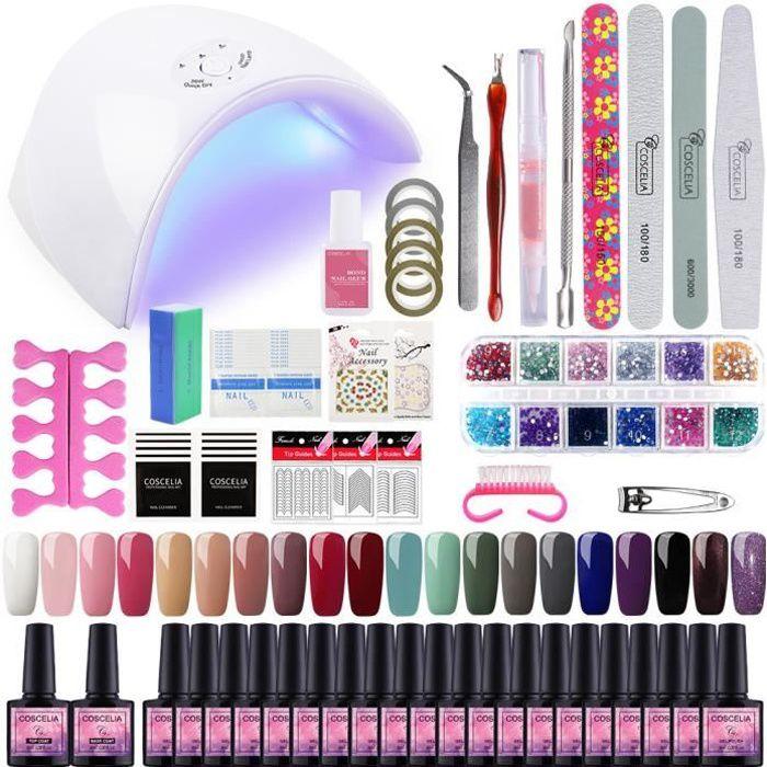 20pc Vernis Semi Permanent Kit 36W Lampe UV/LED Manucure Soak Off Gel Polish Gel UV Vernis à Ongle Topcoat Nail Art Pour Ongle