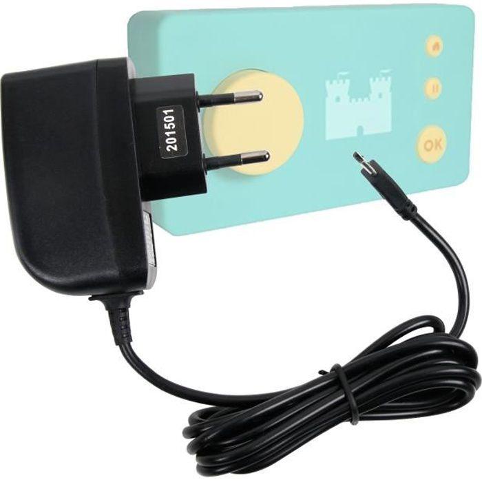 Chargeur secteur à prise murale pour Lunii, ma Fabrique à Histoires - charge rapide 2 amp et port micro USB, par DURAGADGET