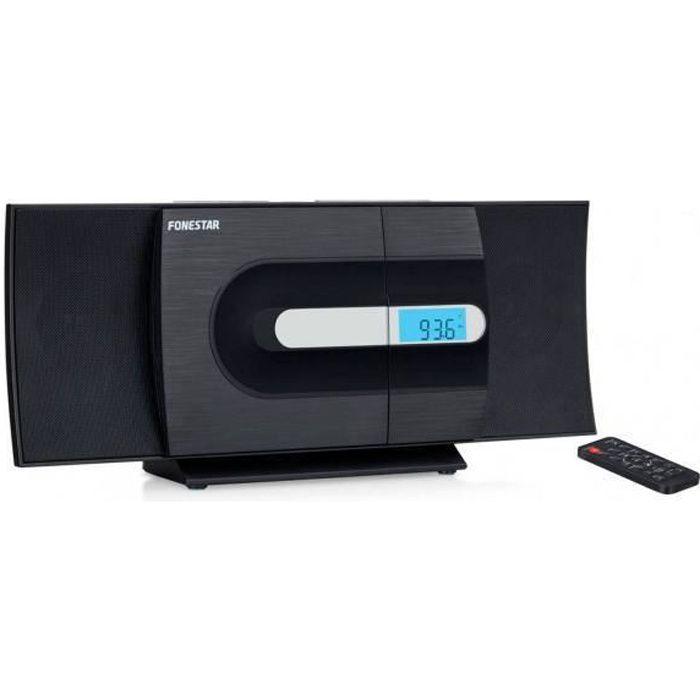 Micro-chaîne FONESTAR CURVE, chaîne Hi-Fi avec lecteur CD / USB / MP3 / FM et entrée jack 3,5 mm à utiliser avec le câble. Radio FM