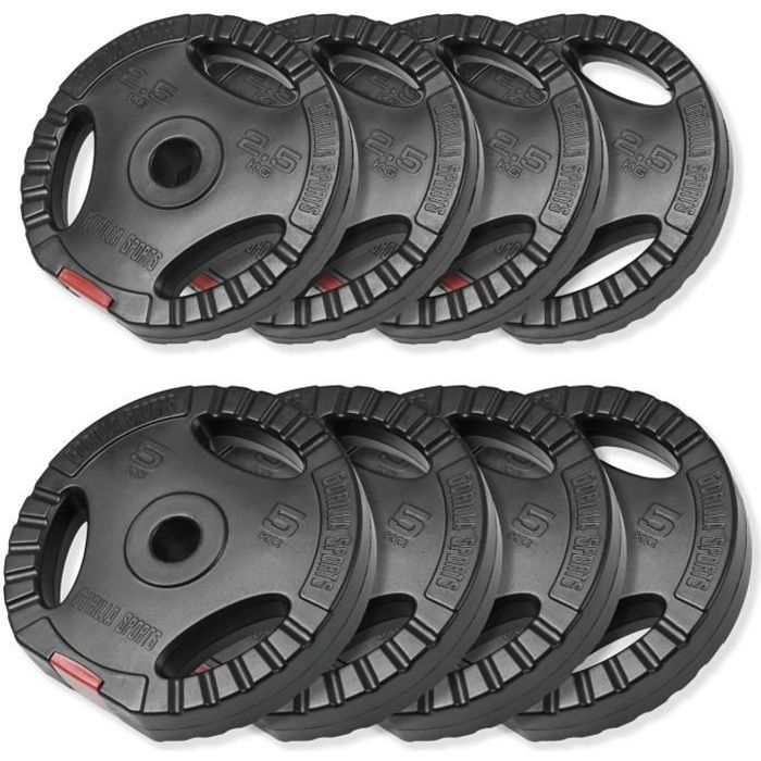 Disques de poids en plastique avec poignées - Lot de 30 KG (4 x 5 KG et 4 x 2,5 KG)