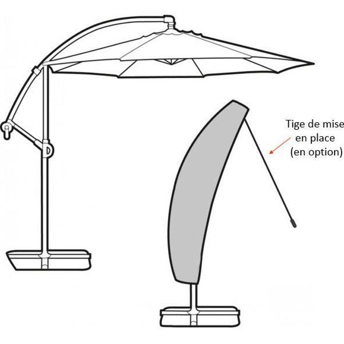 Housse complète pour parasol déporté 280cm gamme élite noir avec tige