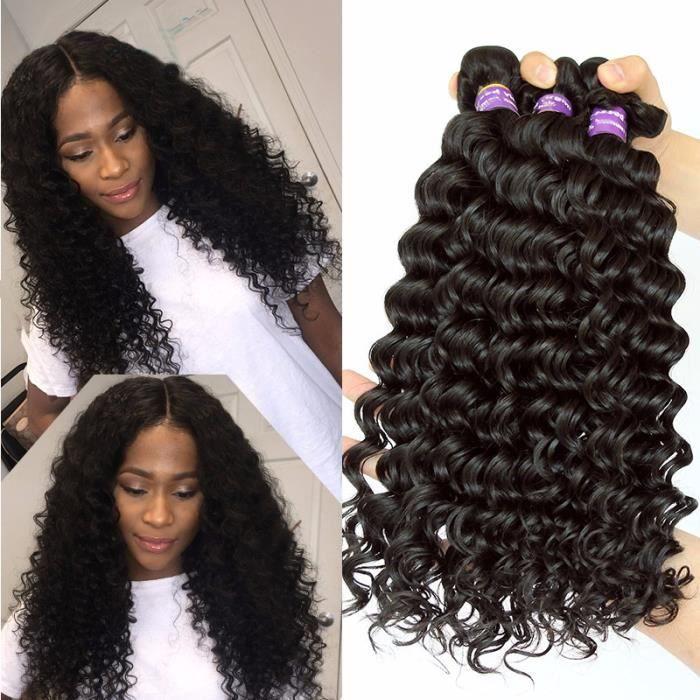 3 Piece tissage bresilien virgin hair deep wave cheveux humains 20 22 24 Pouces livraison gratuite