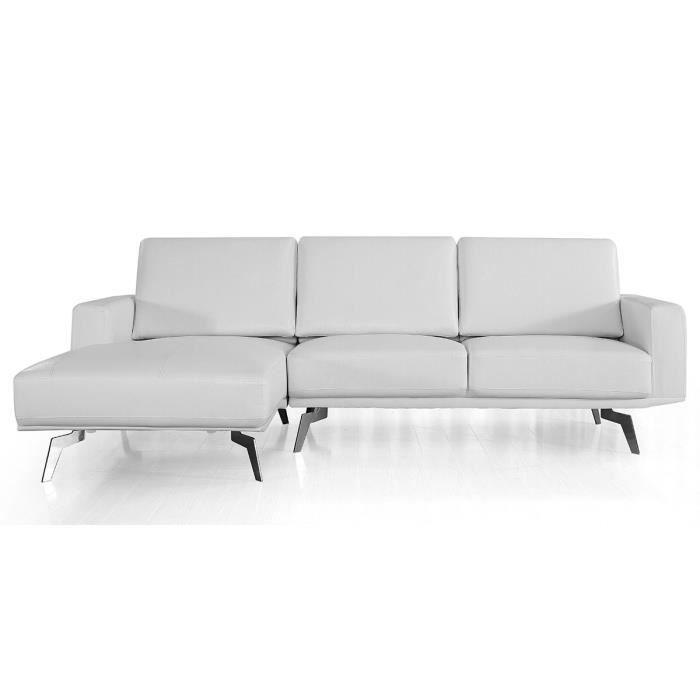 Canapé d'angle gauche en cuir ARYA - Blanc - Gauche - Blanc