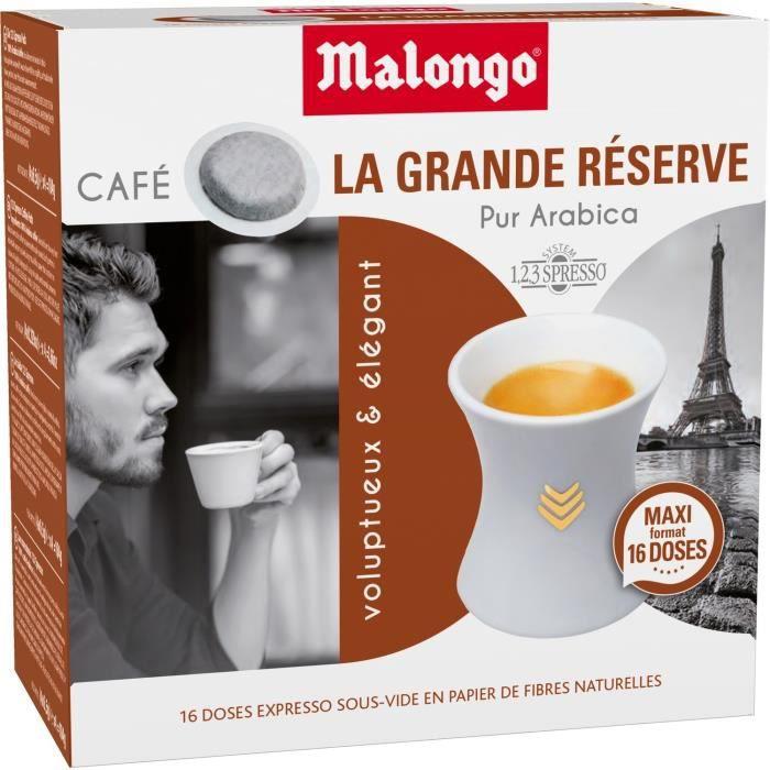 LOT DE 6 - MALONGO Expresso La Grande Réserve - 16 dosettes de café Compatibles 123 spresso