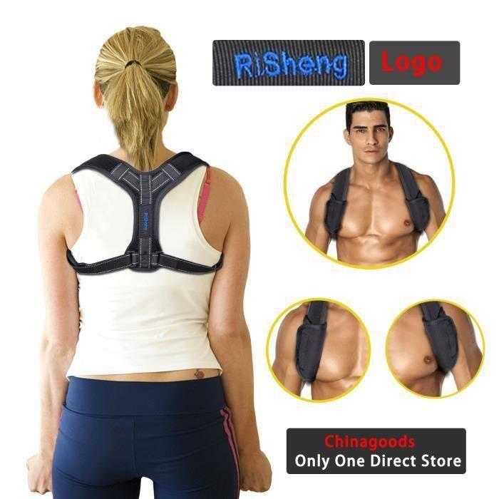 Correcteur de Posture, Réglable 32-45-, Coussinets aisselles pour Dos, épaules et Nuque, Améliore posture pour homme ou femme, Noir