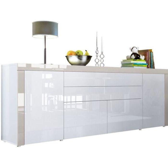 Buffet Blanc / Gris Sable haute brillance 200 cm