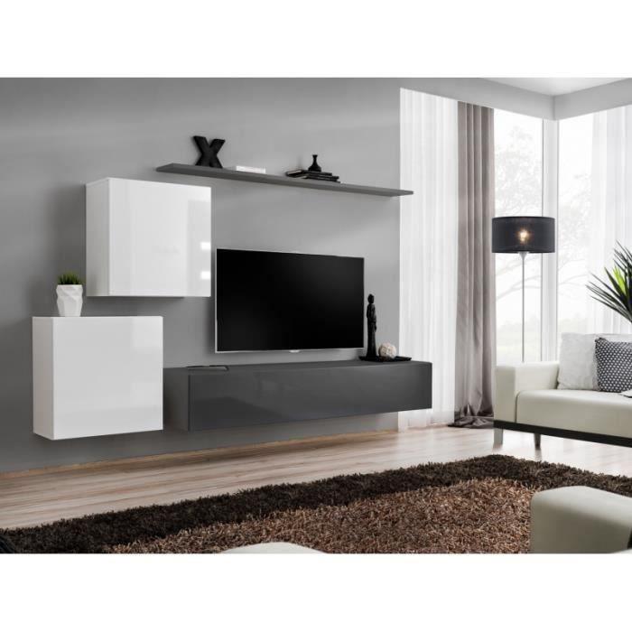 Meuble TV mural SWITCH V design, coloris gris et blanc brillant. 40 Gris