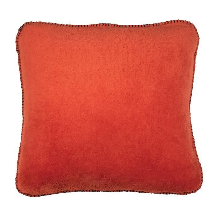 Coussin Melly - 100% polyester - 45 x 45 cm - Rouge rouillé