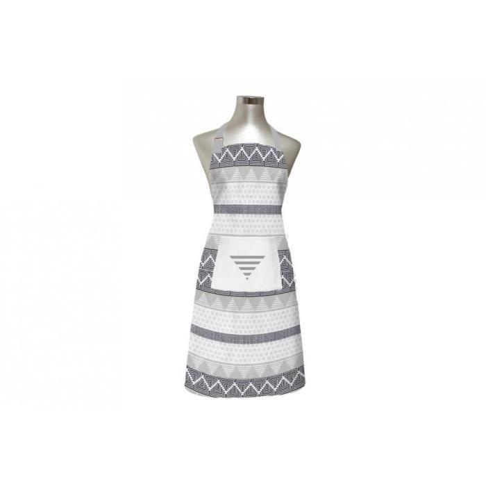SOLEIL D'OCRE Tablier Inca - 100% coton brodé - 60 x 80 cm - Blanc