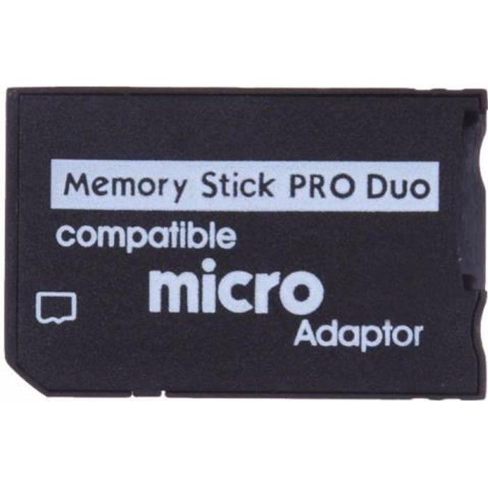 Adaptateur de carte mémoire micro SD vers Memory Stick PRO Duo - Noir (compatible PSP)