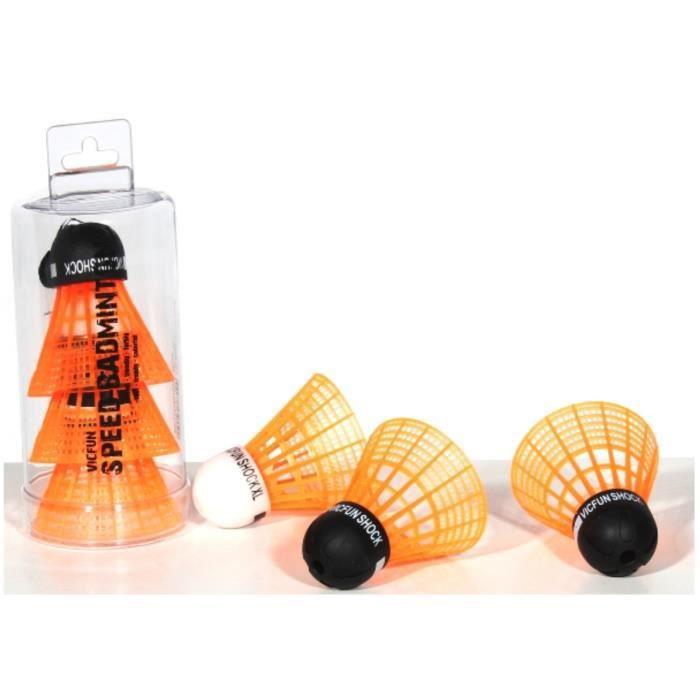 Volant de Speed Badminton VICFUN - Tube de 3 volants - Orange néon
