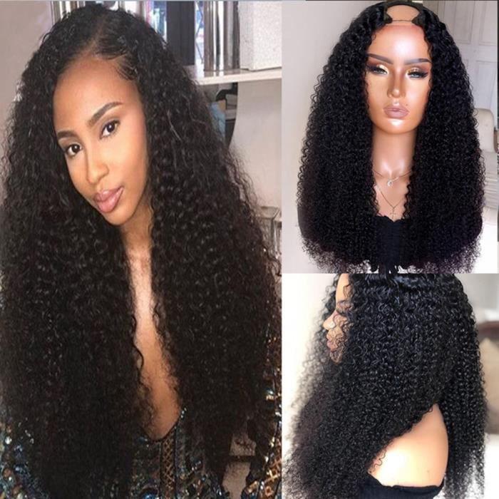 16'' Perruque Afro Brésilienne Remy Bouclée 100% Naturel Cheveux U Part Milieu
