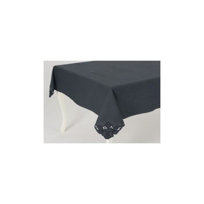 nappe carr broderie fleur bleu saphir 150x250 cm amadeus. Black Bedroom Furniture Sets. Home Design Ideas