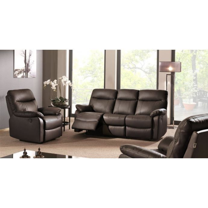 Salon cuir relax lectrique achat vente salon complet for Salon relax electrique