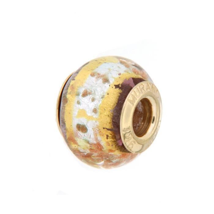 Womens 9ct Yellow Gold Orange And Gold Murano Bead 1EABHP