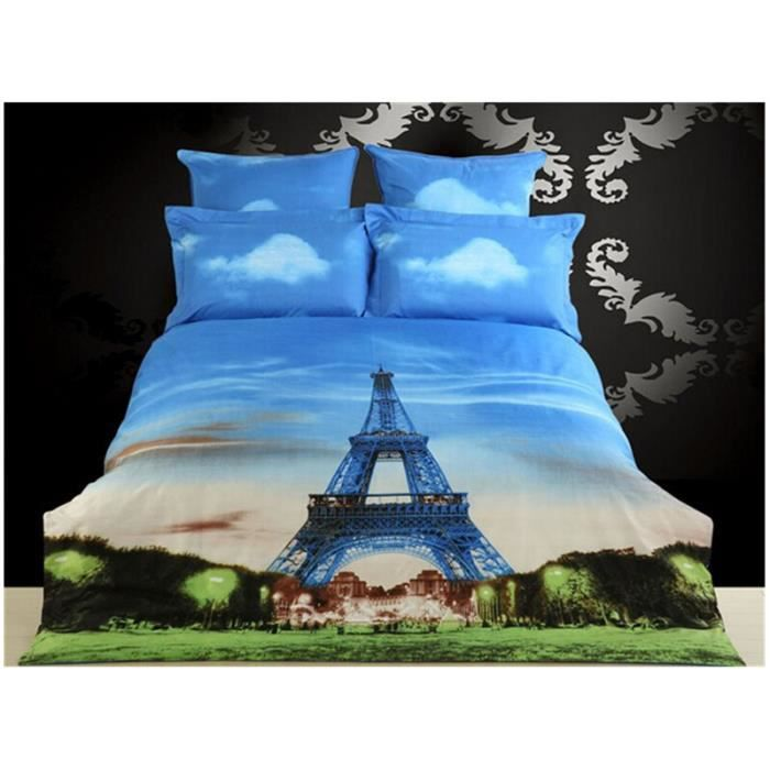 parure de lit 3d tour eiffel de haute gamme 230 200 housse de couette drap de lit 02 taies d. Black Bedroom Furniture Sets. Home Design Ideas