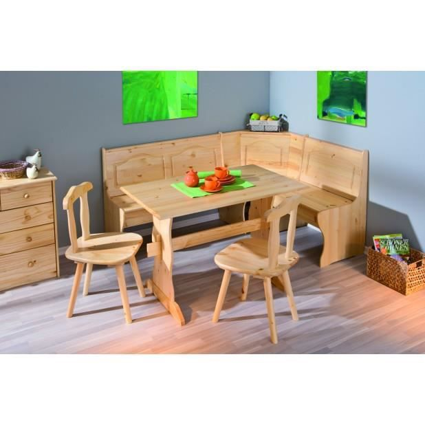 coin repas 1 banc d 39 angle 1 table 2 chaises pin massif vernis naturel achat vente banc. Black Bedroom Furniture Sets. Home Design Ideas
