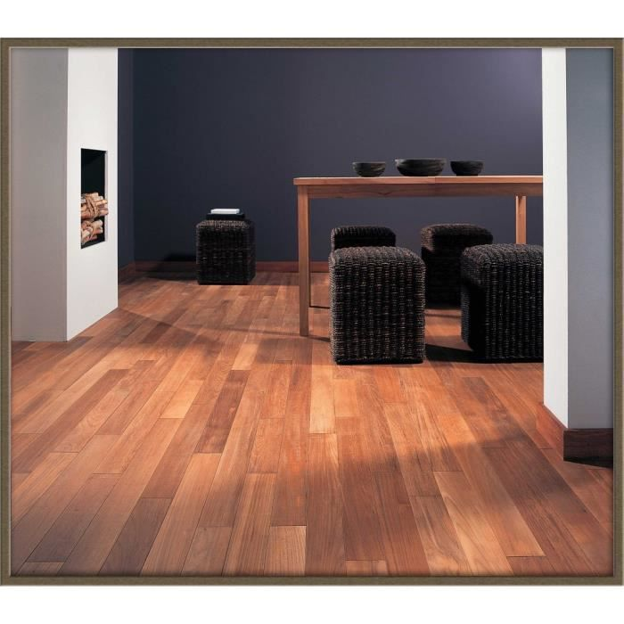 parquet teck massif 3 frises salle de bain achat vente parquet stratifi cdiscount. Black Bedroom Furniture Sets. Home Design Ideas