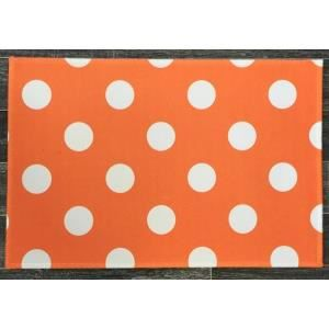 Tapis de cuisine pois couleur orange achat vente for Tapis de cuisine orange