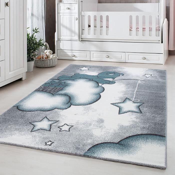 Tapis enfant chambre enfant chambre bébé Ours mignon avec étoile Gris Bleu  Blanc [Ø 120 cm Rond]