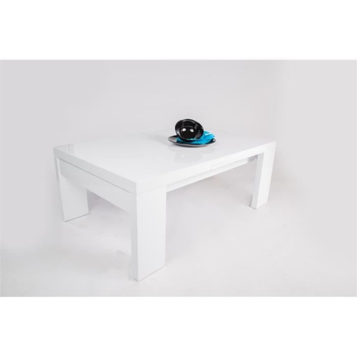 Table basse kungalv blanc laqu achat vente table - Table blanc laque rallonge ...