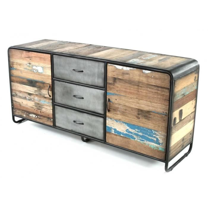 bahut m tal et bois recycl 180 x 50 cm vintoba achat. Black Bedroom Furniture Sets. Home Design Ideas
