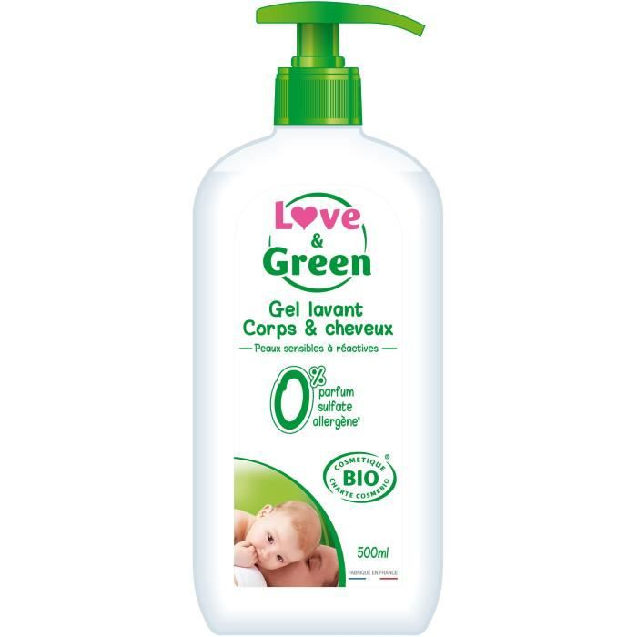 SAVON - SHAMPOING BÉBÉ LOVE AND GREEN Gel corps AND cheveux Bio - 500ml