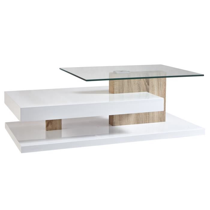 Table basse contemporaine rectangulaire bois verre for Table basse rectangulaire bois