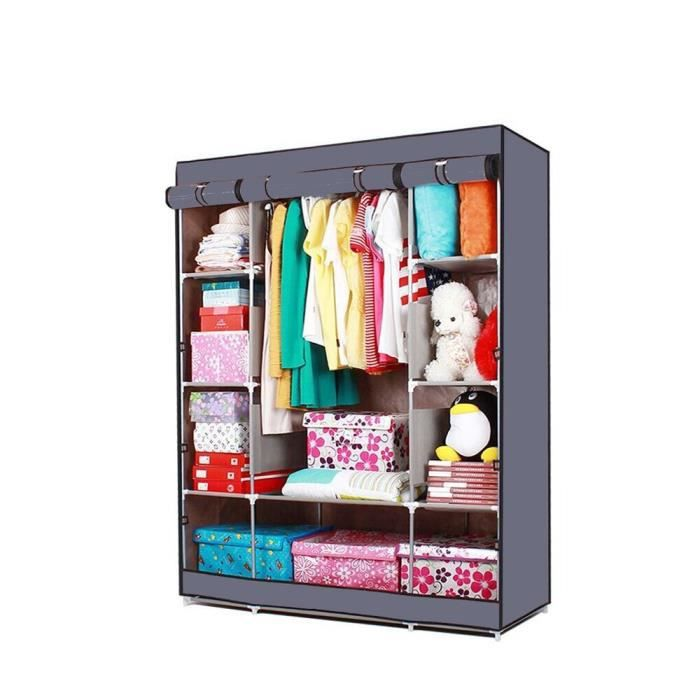 armoire penderie en tissus gris n 1 achat vente penderie mobile armoire penderie en tissus. Black Bedroom Furniture Sets. Home Design Ideas