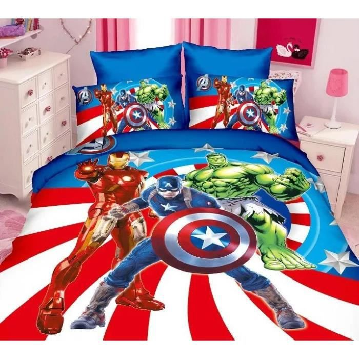 parure de lit enfant avengers captain america iron man et. Black Bedroom Furniture Sets. Home Design Ideas