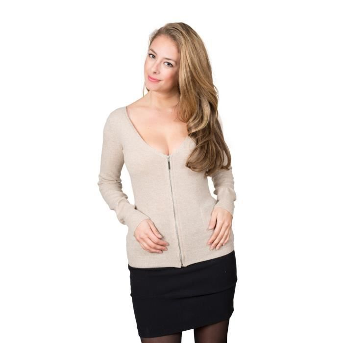cardigan cachemire femme mogan beige beige achat vente gilet cardigan cdiscount. Black Bedroom Furniture Sets. Home Design Ideas