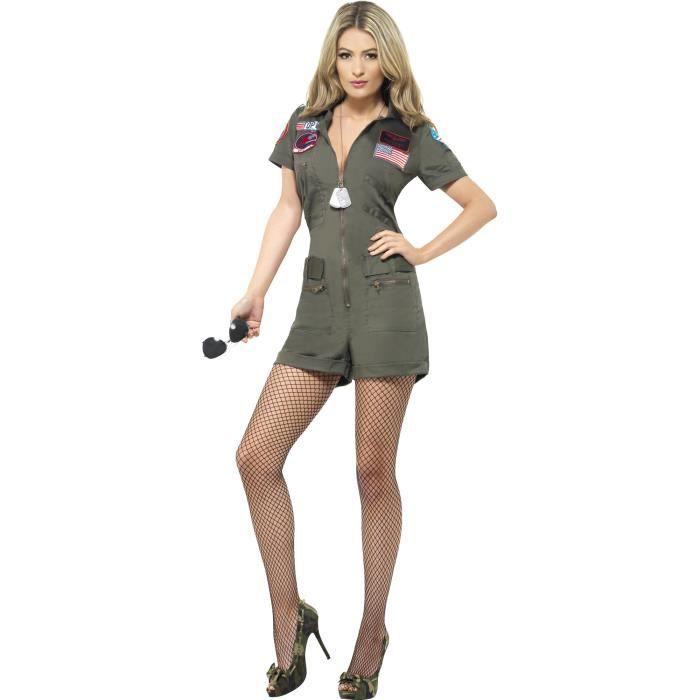 Hommes Smiffys Top Gun Pilote Aviateur Costume Déguisement