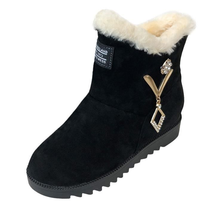 Au Flock 1849 Boot Rond Chaud Chaussures on Femmes Hiver Strass De Bout Slip Neige Wedge Veberge Garder E8vxqU