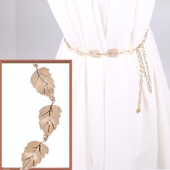CEINTURE ET BOUCLE Lady Mode en métal Feuilles de chaîne de style du