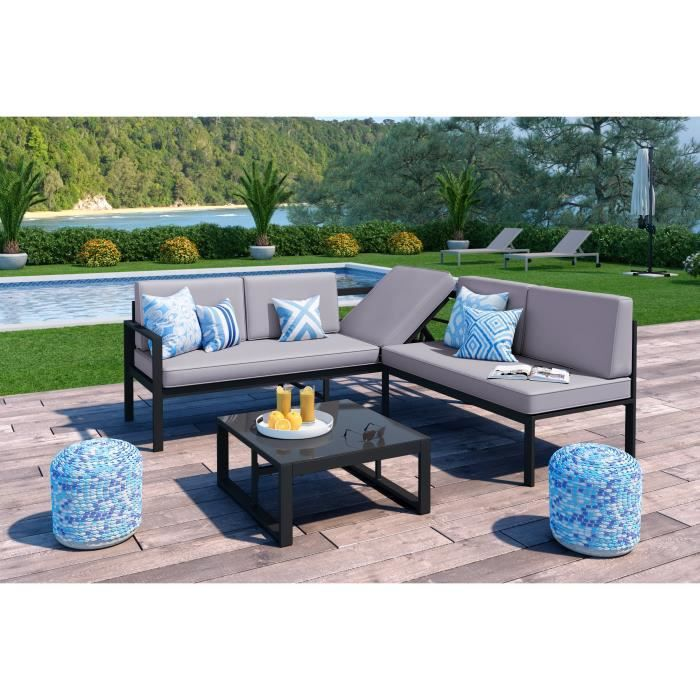 loungitude salon de jardin 1 table basse canap d 39 angle avec m ridienne relevable en aluminium. Black Bedroom Furniture Sets. Home Design Ideas