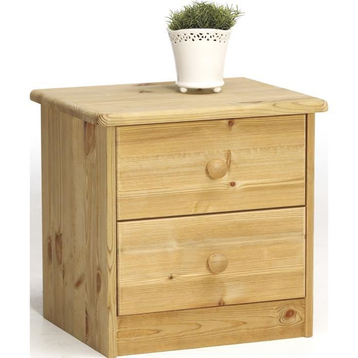 Table de chevet en pin massif avec 2 tiroirs - Dim : 42 x 35 x 41 cm
