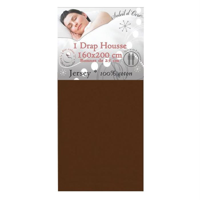 drap housse uni jersey 160x200cm chocolat achat vente. Black Bedroom Furniture Sets. Home Design Ideas